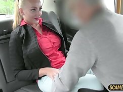 Bigtits eurobabe fucks hard in the taxi