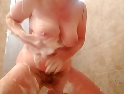 Apprentice bitch Kimberly Kendall takes a hot shower in bed