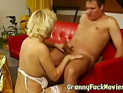 Chubby granny rides cock extremely sensually