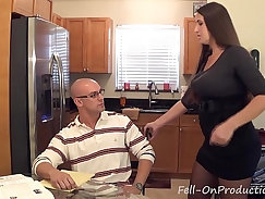 Busty MILF swallows the load from her fresh son