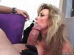 Blonde smokes and cums before cock