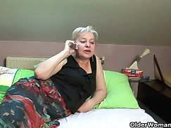British Grandma Plays With Her Cock and Cum