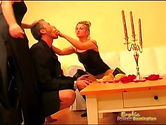 Curvy femdom tizter tentacle watches slave fuck soldier