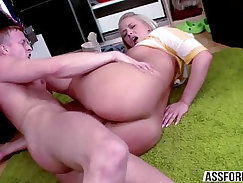 blonde with big tits is fucked on the couch after sex