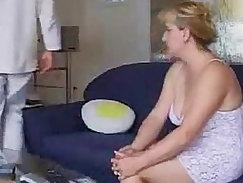Blindfolded mature MILF and her sex partner