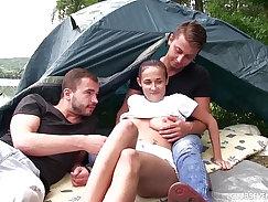 Aroused teenie Tracy McKenzie double penetrated outdoors