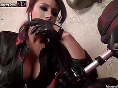 Busty princess in leather sucking on her domination pistils