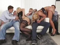 Beautiful girls exchange orgies by public