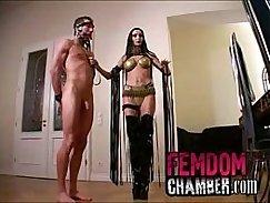 Femdom slave throats and fucks old