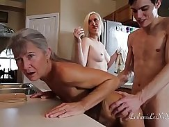 Girl gets pounded in uniform yoga chair after threesome