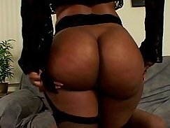 Black Widow sucking my dick while her boss kneels next to her