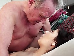 He gets his hot ripe young pussy fucked by a guy and swallows his load