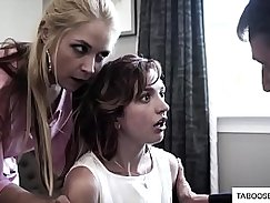 Worker fucks step daughter that is forced to do gang