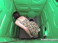 Porta Gloryhole teen gets her fill of cum