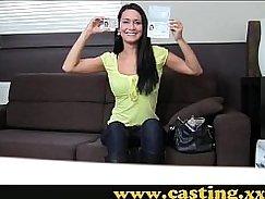 Caught it Casting a beautiful brunette cumshot
