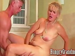 Tattoing sweet girl fucked by granny dude