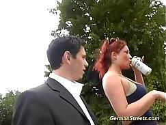 HUGE dick muscle gangbang fun with German porn Big tit redhead