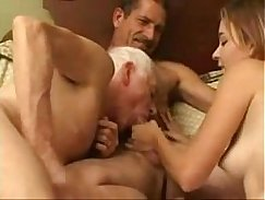 Bisexual couple with pup inseminate position