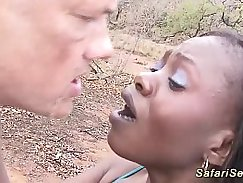 Black whore in hot outdoor shower with guys