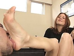 Foot fetish lesbians dancing in a theater