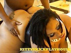 Hot ebony chicks love testing her cookware