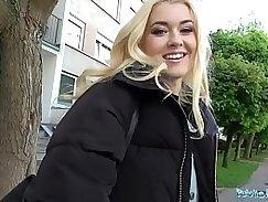 Student in Public Bathroom Feeding Blonde