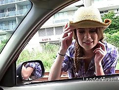 Lazy Tight Little Teen got Cowgirl Creampied by BBCs in Public