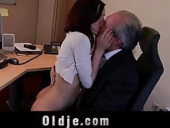 Bigtitted secretary sucks young cock