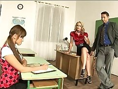 Lucky girl stands in classroom after lesson