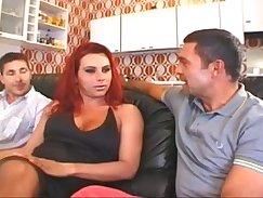 Beautiful Redhead Shemale Takes On Three Dicks