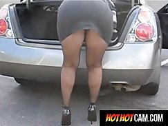 Amateur milf girl with upskirt in public