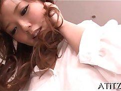 Annette Japan uses big breasts for masturbation