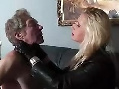 Bitch fucked on a hot leather couch